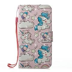 Недорогие Кейсы для iPhone-Кейс для Назначение Apple iPhone X iPhone 8 Бумажник для карт Кошелек со стендом Чехол единорогом Твердый Кожа PU для iPhone X iPhone 8