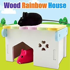 お買い得  小動物用アクセサリー-ウッド パータブル ベッド 虹色