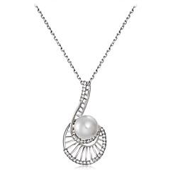 preiswerte Halsketten-Damen Kubikzirkonia Anhängerketten - Künstliche Perle, versilbert, Diamantimitate Hülle Klassisch Silber Modische Halsketten Für Party, Formal