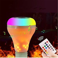 preiswerte LED-Birnen-1set 18W 700lm E27 Smart LED Glühlampen 18 LED-Perlen Bluetooth Abblendbar Flammeneffekt Ferngesteuert LED-Lampe Warmes Weiß RGB + Weiß