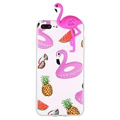 Недорогие Кейсы для iPhone 7 Plus-Кейс для Назначение Apple iPhone 6 iPhone 7 С узором Своими руками Кейс на заднюю панель Фламинго 3D в мультяшном стиле Животное Мягкий