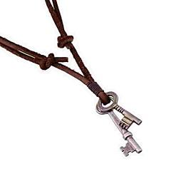 voordelige -Heren Sleutel Leder Hangertjes ketting  -  Eenvoudig Sleutel Bruin Kettingen Voor Dagelijks
