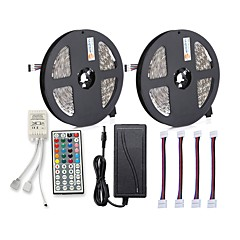 cheap LED Strip Lights-ZDM® 300 LEDs 2x 5M LED Strip Light 1 12V 6A Adapter 1 44Keys Remote Controller 4 Connectors RGB Cuttable Self-adhesive AC100-240