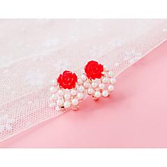 preiswerte Ohrringe-Damen Ohrstecker Klips - Künstliche Perle, Strass Hellgelb / Rot / Rosa Für Alltag Normal