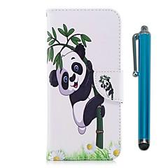 Недорогие Чехлы и кейсы для Sony-Кейс для Назначение Sony Xperia XZ Premium Xperia XZ1 Бумажник для карт Кошелек со стендом Флип Магнитный Чехол Панда Твердый Кожа PU для