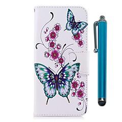 Недорогие Чехлы и кейсы для LG-Кейс для Назначение LG K10 (2017) Бумажник для карт Кошелек со стендом Флип Магнитный Чехол Бабочка Твердый Кожа PU для LG K10 (2017) LG