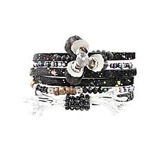 preiswerte Armbänder-Damen Wickelarmbänder - Krystall, Leder Blume Böhmische, Boho Armbänder Schwarz / Rot / Blau Für Festtage Ausgehen