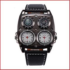 preiswerte Armbanduhren für Paare-Oulm Herrn Paar Armbanduhren für den Alltag Modeuhr Quartz Wasserdicht Kompass Duale Zeitzonen Leder Band Analog Freizeit Modisch Schwarz - Weiß Schwarz Braun