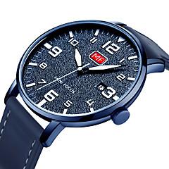 preiswerte Herrenuhren-MINI FOCUS Herrn Armbanduhren für den Alltag Japanisch Quartz Kalender Nachts leuchtend Armbanduhren für den Alltag Echtes Leder Band Analog Modisch Schwarz / Blau / Braun - Braun Grün Blau