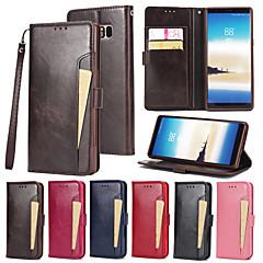 Недорогие Чехлы и кейсы для Galaxy Note 5-Кейс для Назначение SSamsung Galaxy Note 8 Бумажник для карт Кошелек со стендом Флип Чехол Сплошной цвет Твердый Кожа PU для Note 8 Note 5