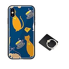 Недорогие Кейсы для iPhone-Кейс для Назначение Apple iPhone X iPhone 8 со стендом Ультратонкий С узором Кейс на заднюю панель Кот Твердый Закаленное стекло для