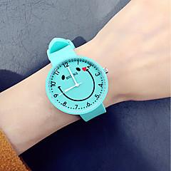 お買い得  レディース腕時計-女性用 中国 クロノグラフ付き / クリエイティブ シリコーン バンド ファッション ブラック / 白 / クローバー