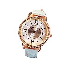 preiswerte Damenuhren-Damen Modeuhr Japanisch Quartz 30 m Armbanduhren für den Alltag Echtes Leder Band Analog Freizeit Schwarz / Weiß / Rot - Rot Rosa Hellblau
