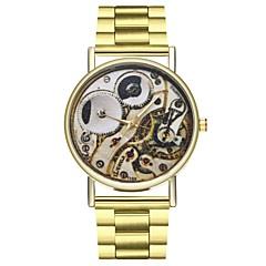 halpa Naisten kellot-Miesten Naisten Ainutlaatuinen Creative Watch Muotikello Kiina Quartz Ajanotto Iso näyttö Moon Phase Ruostumaton teräs Bändi Muoti Kulta