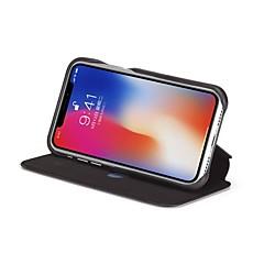 Недорогие Кейсы для iPhone 7 Plus-Кейс для Назначение Apple iPhone X Бумажник для карт Защита от удара Флип Чехол Сплошной цвет Твердый Настоящая кожа для iPhone X iPhone