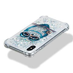 Недорогие Кейсы для iPhone-Кейс для Назначение Apple iPhone X iPhone 8 Защита от удара Движущаяся жидкость С узором Кейс на заднюю панель Сияние и блеск Сова Мягкий