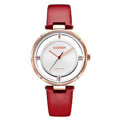 preiswerte Damenuhren-CADISEN Damen Armbanduhren für den Alltag Modeuhr Japanisch Quartz 30 m Wasserdicht Nachts leuchtend Armbanduhren für den Alltag Leder Band Analog Modisch Elegant Weiß / Rot - Weiß / Rot Weiß / Gold