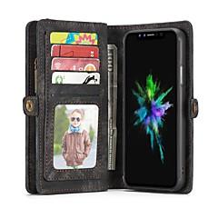 Недорогие Кейсы для iPhone 7-Кейс для Назначение Apple iPhone X iPhone 8 Бумажник для карт Кошелек Флип Чехол Сплошной цвет Твердый Настоящая кожа для iPhone X iPhone