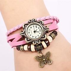 preiswerte Damenuhren-Damen Armbanduhren für den Alltag Digital Armbanduhren für den Alltag Leder Band digital Freizeit Schmetterling Rosa - Rosa