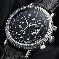 preiswerte Herrenuhren-YAZOLE Herrn Quartz Armbanduhren für den Alltag Chinesisch Kalender Armbanduhren für den Alltag PU Band Modisch Cool Schwarz Braun
