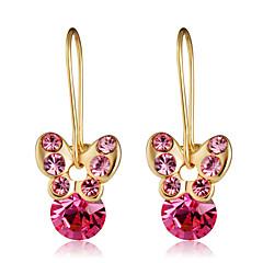 cheap Earrings-Women's Ball / Butterfly Crystal / Cubic Zirconia Crystal / Zircon / Gold Plated Drop Earrings - Formal / Elegant / Fashion Fuchsia