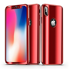 voordelige iPhone-hoesjes-hoesje Voor Apple iPhone X iPhone 8 Beplating Spiegel Volledig hoesje Effen Hard PC voor iPhone X iPhone 8 Plus iPhone 8 iPhone 7 Plus