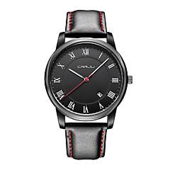 preiswerte Herrenuhren-Herrn Modeuhr Japanisch Armbanduhren für den Alltag Echtes Leder Band Freizeit Schwarz