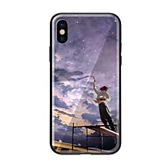 Недорогие Кейсы для iPhone 5-Кейс для Назначение Apple iPhone X / iPhone 8 С узором Кейс на заднюю панель Пейзаж Твердый Закаленное стекло для iPhone X / iPhone 8 Pluss / iPhone 8