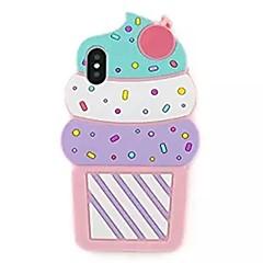 Недорогие Кейсы для iPhone 7 Plus-Кейс для Назначение Apple iPhone X / iPhone 8 С узором Кейс на заднюю панель 3D в мультяшном стиле / Мороженное Мягкий Силикон для iPhone X / iPhone 8 Pluss / iPhone 8