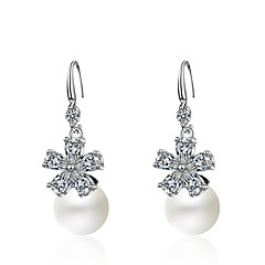 preiswerte Ohrringe-Damen Tropfen-Ohrringe Kubikzirkonia Imitierte Perlen Metallisch Süß Cool Künstliche Perle Zirkon Aleación Blume Schmuck Party / Abend