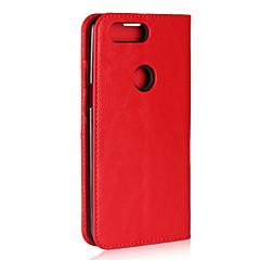 お買い得  その他のケース-ケース 用途 OnePlus OnePlus 5T カードホルダー / スタンド付き / フリップ フルボディーケース ソリッド ハード 本革 のために OnePlus 5T