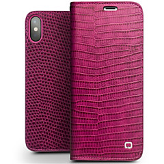 Недорогие Кейсы для iPhone-Кейс для Назначение Apple iPhone X iPhone 8 Бумажник для карт Защита от удара Флип Чехол Сплошной цвет Твердый Настоящая кожа для iPhone X