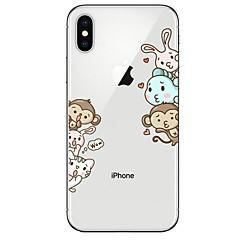 Недорогие Кейсы для iPhone-Кейс для Назначение Apple iPhone X / iPhone 8 Ультратонкий / Прозрачный / С узором Кейс на заднюю панель Животное / Мультипликация Мягкий ТПУ для iPhone X / iPhone 8 Pluss / iPhone 8