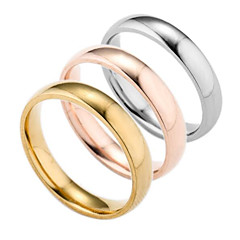 preiswerte Ringe-Herrn Bandring - versilbert, vergoldet Modisch 6 / 7 / 8 Gold / Silber / Rose Für Alltag