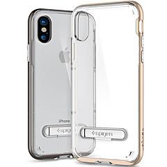 Недорогие Кейсы для iPhone-Кейс для Назначение Apple iPhone X Защита от удара со стендом Кейс на заднюю панель Сплошной цвет Мягкий ТПУ для iPhone X