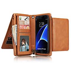 Недорогие Чехлы и кейсы для Galaxy Note 5-Кейс для Назначение SSamsung Galaxy Note 8 Note 5 Бумажник для карт Кошелек Чехол Сплошной цвет Твердый Настоящая кожа для Note 8 Note 5