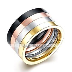 abordables Joyería para Hombre-Hombre Cool Acero inoxidable Juego de anillos - 4pcs Forma de Círculo Rock Arco Iris anillo Para Diario / Trabajo