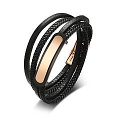 Недорогие Браслеты-Муж. Wrap Браслеты Кожаные браслеты - Кожа Мода Браслеты Черный Назначение Повседневные На выход