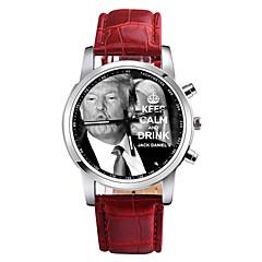 お買い得  メンズ腕時計-男性用 クォーツ ドレスウォッチ 中国 クロノグラフ付き PU バンド カジュアル ブラック 白 レッド