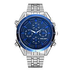 お買い得  メンズ腕時計-男性用 クォーツ カジュアルウォッチ 中国 大きめ文字盤 ステンレス バンド ファッション シルバー