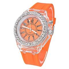 お買い得  メンズ腕時計-女性用 中国 クロノグラフ付き / クリエイティブ / 光る シリコーン バンド 光沢タイプ ブラック / 白 / オレンジ