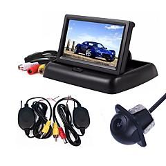 abordables Cámaras para Retrovisor de Coche-ziqiao 3 en 1 sistema de video monitor de cámara de estacionamiento inalámbrico monitor de coche plegable plegable con kit inalámbrico de cámara de visión trasera