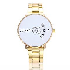 preiswerte Herrenuhren-Herrn Damen Quartz Modeuhr Armbanduhren für den Alltag Chinesisch Großes Ziffernblatt Edelstahl Band Modisch Silber Gold
