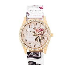 お買い得  レディース腕時計-女性用 カジュアルウォッチ ファッションウォッチ ダミー ダイアモンド 腕時計 クォーツ 模造ダイヤモンド 大きめ文字盤 PU バンド ハンズ 花型 ファッション 白 / ブルー / レッド - Brown レッド ピンク 1年間 電池寿命