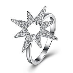 preiswerte Ringe-Damen Kubikzirkonia Bandring - S925 Sterling Silber Stern damas, Modisch Schmuck Silber Für Party Alltag 8 / 9