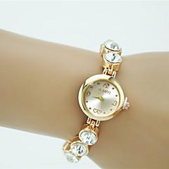 preiswerte Damenuhren-Damen Quartz Armband-Uhr Strass Imitation Diamant Legierung Band Charme Elegant Modisch Gold