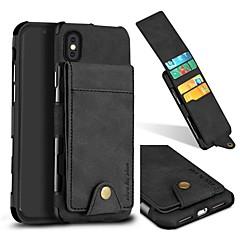 Недорогие Кейсы для iPhone 6 Plus-Кейс для Назначение Apple iPhone X iPhone 8 Бумажник для карт Кошелек Кейс на заднюю панель Однотонный Твердый Настоящая кожа для iPhone