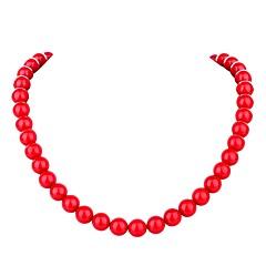 abordables Collares de perlas-Mujer Perla Collares de cadena - Perla Bohemio, Moda, Boho Bonito Rojo 45.5 cm Gargantillas Joyas Para Ceremonia, Carnaval