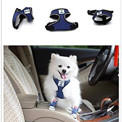 お買い得  犬用品-ペット用 ハーネス トレーナー 調整可能 / 引き込み式 車内向け 安全用具 ソリッド シリコーン メッシュ ブルー