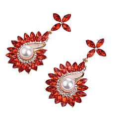 abordables Pendientes-Mujer De Gran Tamaño Zirconia Cúbica Perla artificial Cristal Perla Artificial Zirconio Pendientes colgantes - De Gran Tamaño Moda Forma